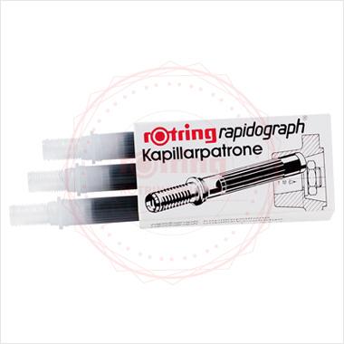 Powiększ Naboje kapilarne do rapidografów Rotring, kolor: czarny