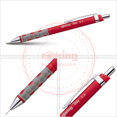 Powiększ Ołówek automatyczny Rotring Tikky III 0,5 czerwony korpus
