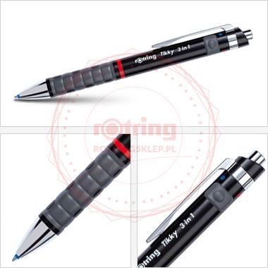 Powiększ Multipen Rotring Tikky czarny (BP niebieski / BP czerwony / ołówek 0.7mm)