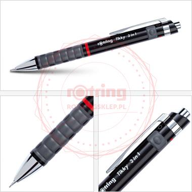 Powiększ Multipen Rotring Tikky czarny (BP czarny / BP czerwony / ołówek 0.5mm)