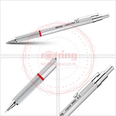 Powiększ Rotring Rapid Pro - precyzyjny ołówek automatyczny 0,5mm - srebrny