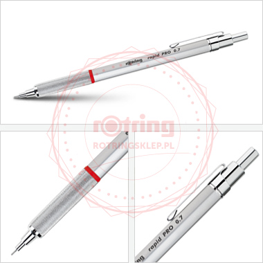 Rotring Rapid Pro precyzyjny ołówek automatyczny 0,7mm - srebrny